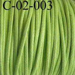 cordon 100% coton ciré couleur vert anis diamètre 2 mm prix au mètre