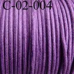 cordon 100% coton ciré couleur violet diamètre 2 mm prix au mètre