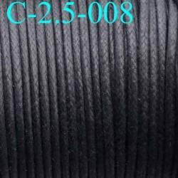 cordon 100% coton ciré couleur noir diamètre 2.5 mm prix au mètre
