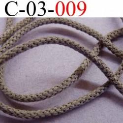cordon synthétique et coton souple et très solide couleur marron taupe tirant sur le vert kaki clair diamètre 3 mm prix au mètre