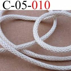cordon synthétique et coton souple très très solide couleur sable écru diamètre 5 mm prix au mètre