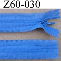fermeture zip invisible longueur 60 cm couleur bleu non séparable largeur 2.4 cm glissière nylon largeur 4 mm