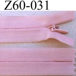 fermeture zip invisible longueur 60 cm couleur vieux rose non séparable largeur 2.5 cm glissière nylon largeur 4 mm