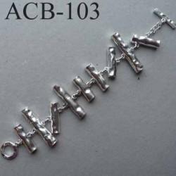superbe bracelet estampillé Biche de Bere métal argenté bijoux collector
