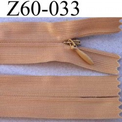fermeture zip invisible longueur 60 cm couleur beige chair marron clair non séparable largeur 2.5 cm glissière nylon  4 mm