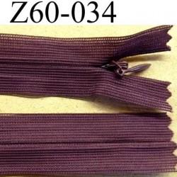 fermeture zip invisible longueur 60 cm couleur prune violet non séparable largeur 2.5 cm glissière nylon largeur 4 mm