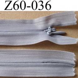 fermeture zip invisible longueur 60 cm couleur gris non séparable largeur 2.5 cm glissière nylon largeur 4 mm