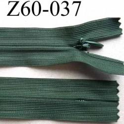 fermeture zip invisible longueur 60 cm couleur vert non séparable largeur 2.5 cm glissière nylon largeur 4 mm