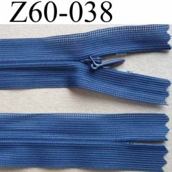 fermeture zip invisible longueur 60 cm couleur bleu non séparable largeur 2.5 cm glissière nylon largeur 4 mm