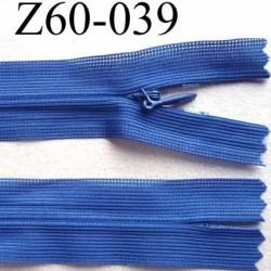 fermeture zip invisible longueur 60 cm couleur bleu lumieux non séparable largeur 2.5 cm glissière nylon largeur 4 mm