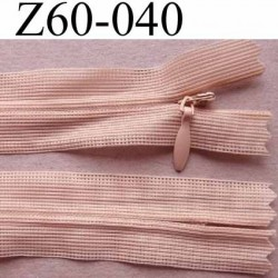 fermeture zip invisible longueur 60 cm couleur beige rosé non séparable largeur 2.5 cm glissière nylon largeur 4 mm