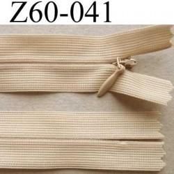 fermeture zip invisible longueur 60 cm couleur beige non séparable largeur 2.5 cm glissière nylon largeur 4 mm