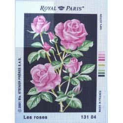 canevas 30X40 marque ROYAL PARIS thème les roses dimennsion 30 centimètres par 40 centimètres 100 % coton