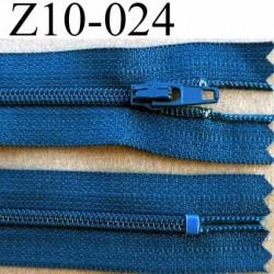 fermeture zip à glissière YKK longueur 10 cm couleur bleu non séparable largeur 2.5 cm glissière nylon largeur du zip 4 mm