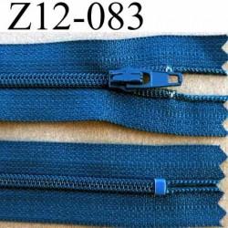 fermeture zip à glissière YKK longueur 12 cm couleur bleu non séparable largeur 2.5 cm glissière nylon largeur du zip 4 mm