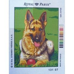 canevas 30X40 marque ROYAL PARIS thème berger allemand dimennsion 30 centimètres par 40 centimètres 100 % coton