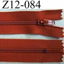 fermeture zip à glissière longueur 12 cm couleur rouille non séparable zip nylon largeur 2.5 cm largeur du zip 4 mm