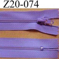 fermeture zip longueur 20 cm couleur parme lilas violine non  séparable zip nylon largeur 2.5 cm largeur de la glissière 4 mm