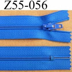 fermeture zip à glissière longueur 55 cm couleur bleu non séparable largeur 2.5 cm glissière nylon largeur 4 mm