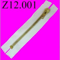 fermeture zip à glissière 12 cm blanche en coton zip métal