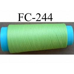 cone de fil mousse polyester fil fin n°150 couleur vert anis longueur du cone 1000 mètres fabriqué en France