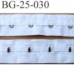 ruban  galon bande agrafe couleur blanc largeur 25 mm  100 % coton  souple  un mètre male et un mètre femèle