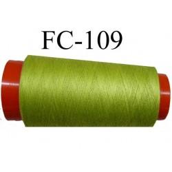cone de fil polyester fil n°120 couleur vert anis longueur du cone 2000 mètres bobiné en France