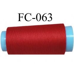 cone de fil polyester fil n°120 couleur rouge longueur du cone 1000 mètres bobiné en France