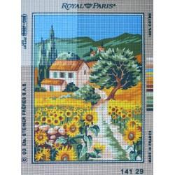 canevas 30X40 marque ROYAL PARIS thème tournesols en campagne dimennsion 30 centimètres par 40 centimètres 100 % coton