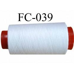 CONE de fil Polyester fil n° 120 couleur blanc  longueur de 2000 mètres bobiné en France