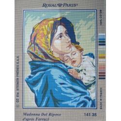 canevas 30X40 marque ROYAL PARIS thème madonna del riposo dimennsion 30 centimètres par 40 centimètres 100 % coton