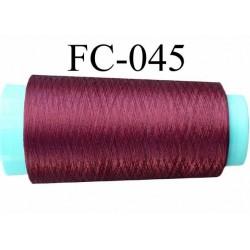 Cone de fil nylon 2/70 solide couleur prune bordeaux longueur 1000 mètres bobiné en France