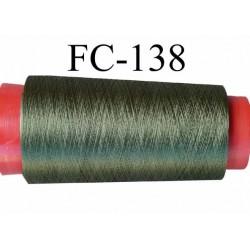 Cone de fil nylon 2/70 solide couleur vert longueur 2000 mètres bobiné en France