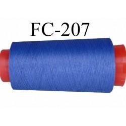 Cone de fil mousse polyester texturé fil n° 120 couleur bleu tirant  sur le lilas  cone de 1000 mètres bobiné en France