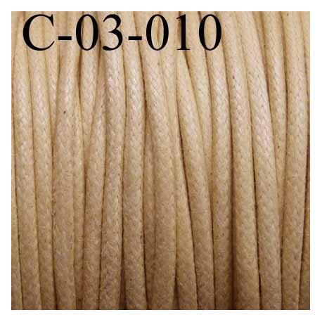 cordon 100% coton ciré couleur beige ou crème diamètre 3 mm prix au mètre