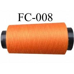 Cone de fil polyester fil n°120 couleur orange longueur du cone 5000 mètres bobiné en France