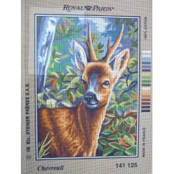 canevas 30X40 marque ROYAL PARIS thème chevreuil dimennsion 30 centimètres par 40 centimètres 100 % coton