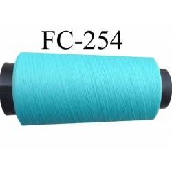 Cone de fil mousse texturé polyester fil n° 160 couleur vert bleu lagon longueur 1000 mètres bobiné en France