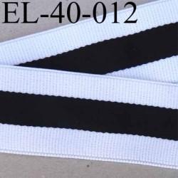 élastique plat belle qualité  couleur blanc et noir à rayures largeur 40 mm prix au mètre