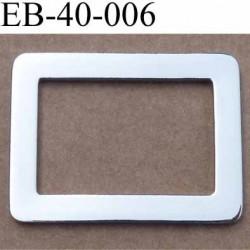 Boucle étrier rectangle métal couleur acier chromé largeur 4.1 cm et largeur intérieur 3.1 cm hauteur 3.1 cm épaisseur 2 mm