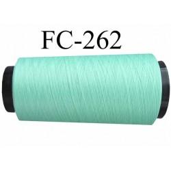 Cone de fil mousse texturé polyester fil n° 150 couleur vert lagon longueur 1000 mètres bobiné en France