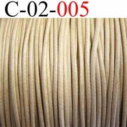 cordon 100% coton ciré couleur beige diamètre 2 mm prix au mètre