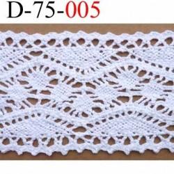 dentelle crochet ancienne 100% coton largeur 75 mm couleur blanc provient d'une vieille mercerie parisienne prix au mètre