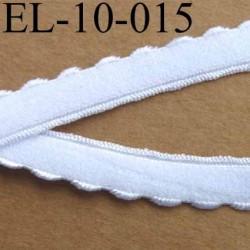 élastique picot plat dessus velour  largeur total 10 mm 8 mm+2 mm de picot couleur blanc prix au mètre très belle qualité