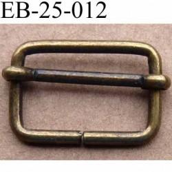 Boucle etrier rectangle coulissant métal bronse laiton style ancien patiné largeur extérieur 2.5 cm largeur it 2.1 cm ht 1.7 cm
