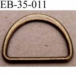 Boucle etrier anneau demi rond métal couleur bronse laiton style ancien largeur extérieur 3.5 cm intérieur 3 cm hauteur 2.5 cm