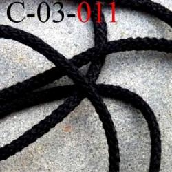 cordon en coton très très solide superbe couleur noir diamètre 3 mm prix au mètre