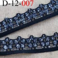 dentelle synthétique couleur noir et argent brillant  largeur 12 mm prix au mètre
