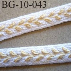 biais  galon ruban couleur blanc et épi beige écru doré superbe souple et doux largeur 10 mm prix au mètre