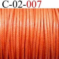 cordon 100% coton ciré couleur orange diamètre 2 mm prix au mètre
